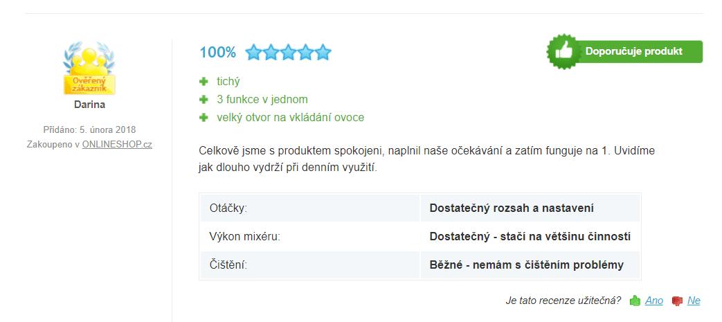 Zákazníci hodnotí přístroj velmi pozitivně / foto: heureka.cz