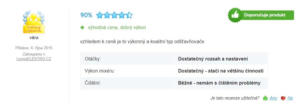 Zákazníci příznivě hodnotí cenu a výkon přístroje / foto: heureka.cz