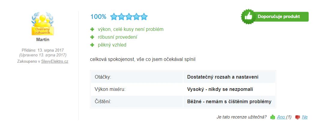 Zákazníci hodnotí  spotřebič velmi kladně / foto: 4home.cz